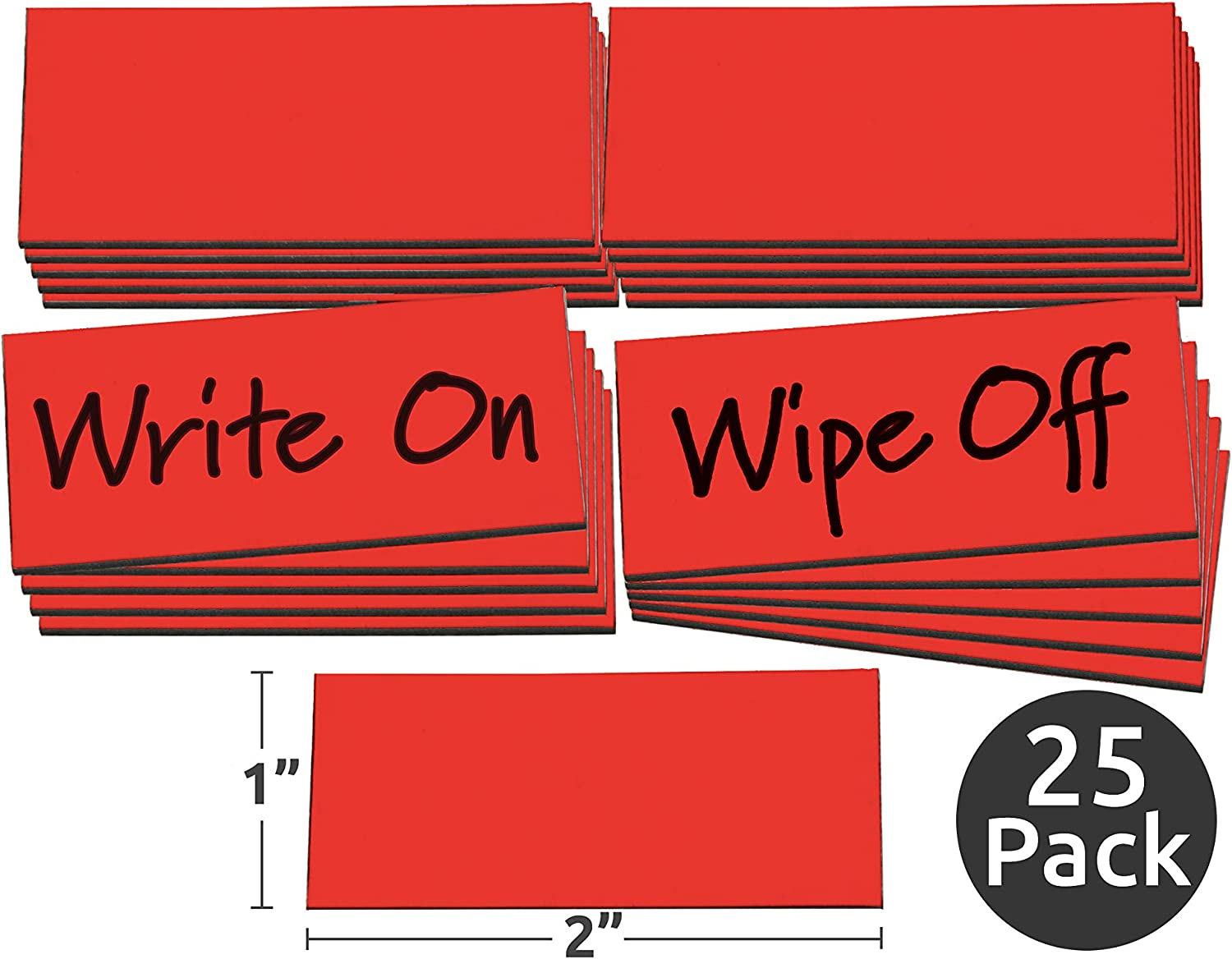 """1"""" x 2"""" Red Damp Erase Write On Wipe Off Colored Magnet Strips 25/Pkg 71nL84NC4wL"""