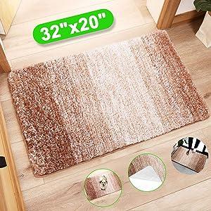 """Indoor Doormat Front Door Mat, Super Absorbent Entrance Rug, Non Slip Back Door Mats, Dirt Trapper Entry Rugs Inside Machine Washable Door Carpet for Entryway (32""""x20"""", Brown/Beige)"""