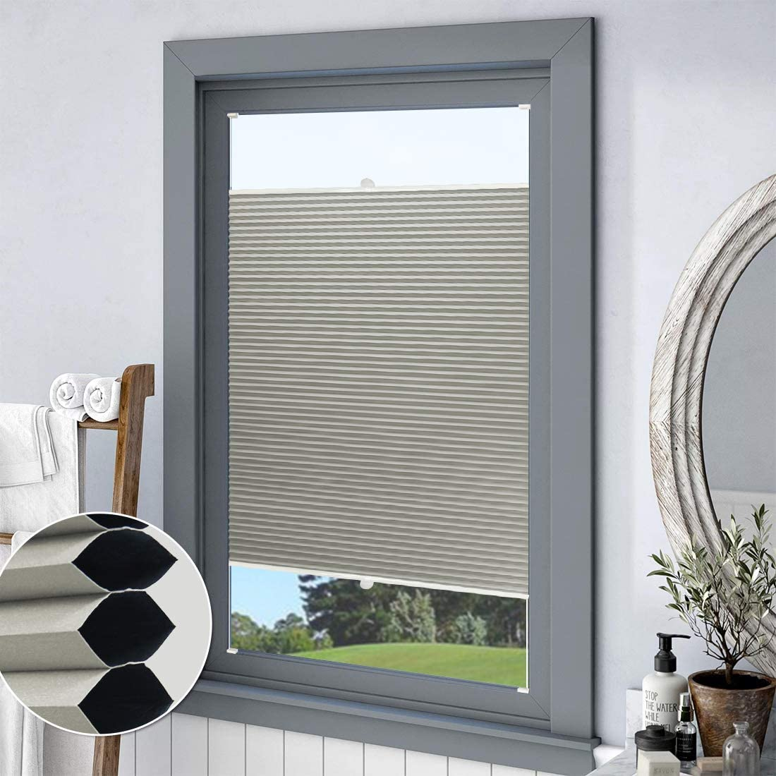 Amazon Com Keego Top Down Bottom Up Blackout Honeycomb Shades Cellular Shades Custom Cut To Size Window Blinds Grey 31 1 2 W X 64 H Home Kitchen