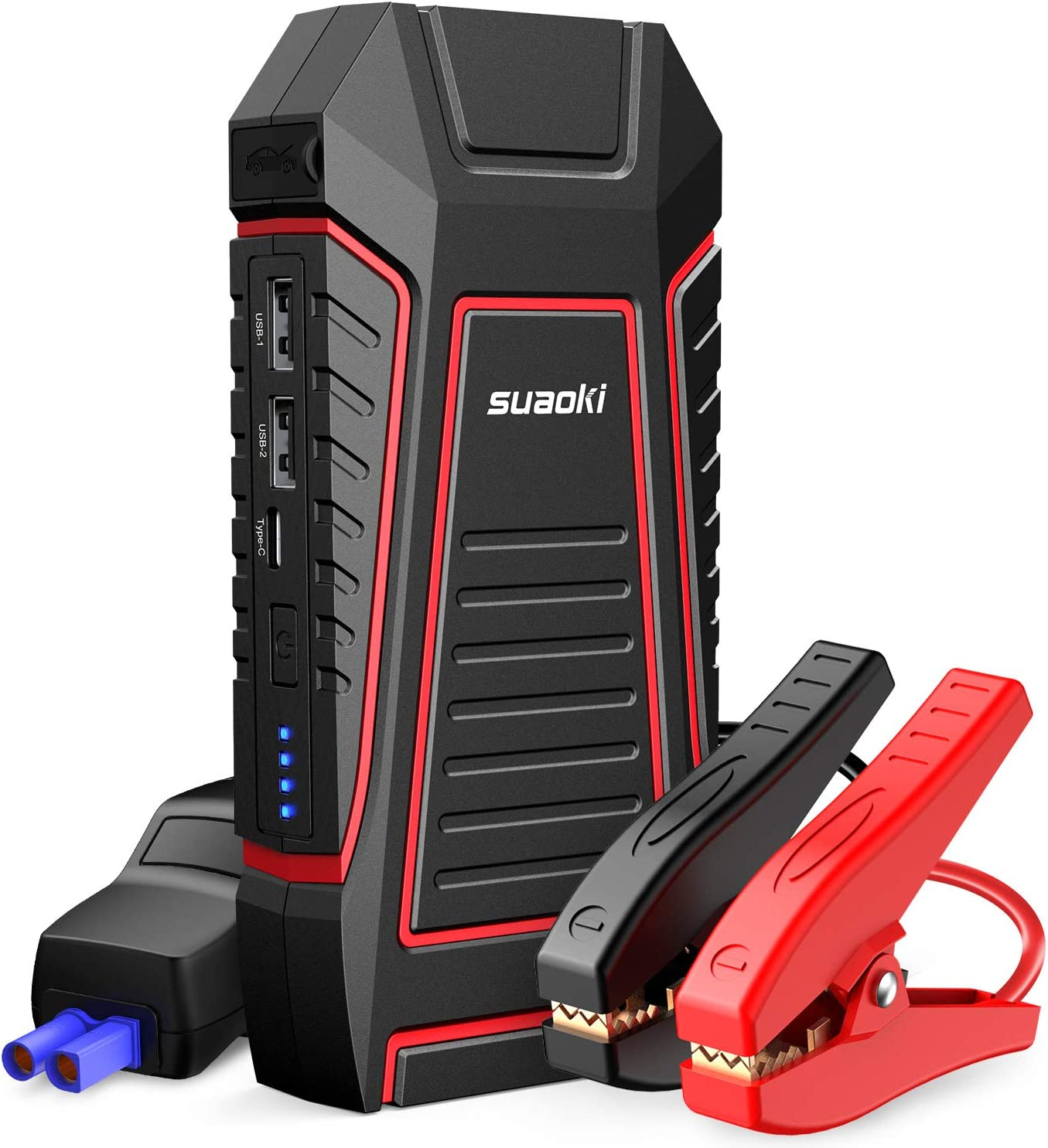 Car Battery Booster Power Pack with USB,Smart Clamps,LED Flashlight for 12V Car /&Motorcycles SUAOKI 400A Peak Portable Jump Starter up to 2.5L gas engine