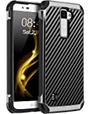 BENTOBEN Phone Case LG K8/LG K7/LG Treasure LTE, Case for LG Tribute 5/LG Escape/LG Phoenix 2, Dual Layer Hybrid PC TPU Bumper Carbon Fiber Texture Shockproof Protective Case, Black/Grey