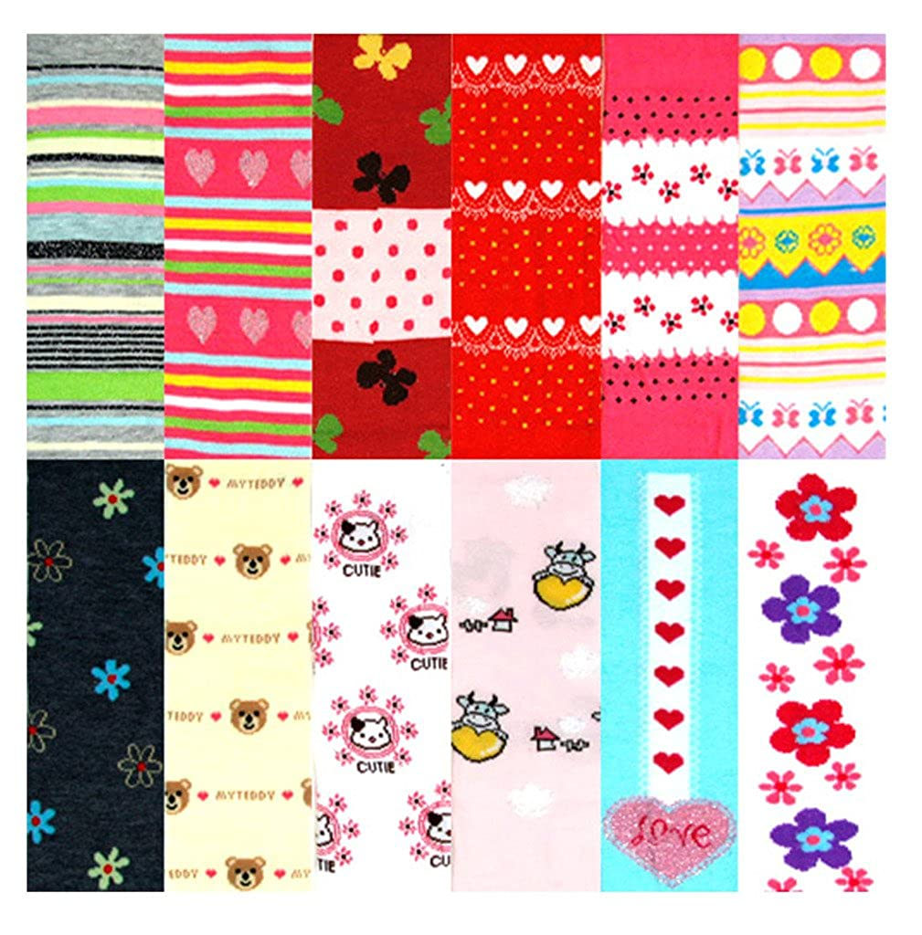 MOPAS Pack of 12 Pairs Girls Winter Tights Assorted Prints /& Solid Colors