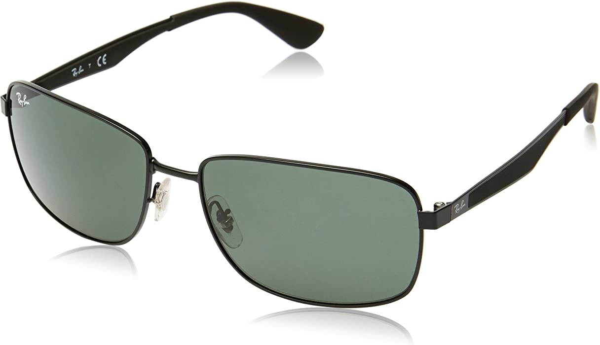 40ba1a1b36 Ray-Ban METAL MAN SUNGLASS - MATTE BLACK Frame GREEN Lenses 58mm  Non-Polarized