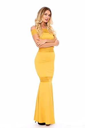 Mustard Yellow Mermaid Maxi Off Shoulder Dress Small