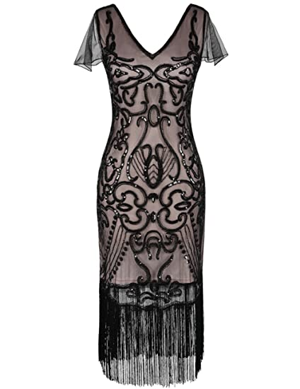 1300d66b kayamiya Women's 1920s Dress with Sleeve Sequin Art Deco Cocktail Flapper  Dress at Amazon Women's Clothing store: