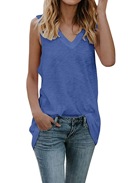 6f97c93f7ae00 Womens Long Tank Tops Casual V Neck Oversized Sleeveless Tunic Shirts  Summer Tees (Blue