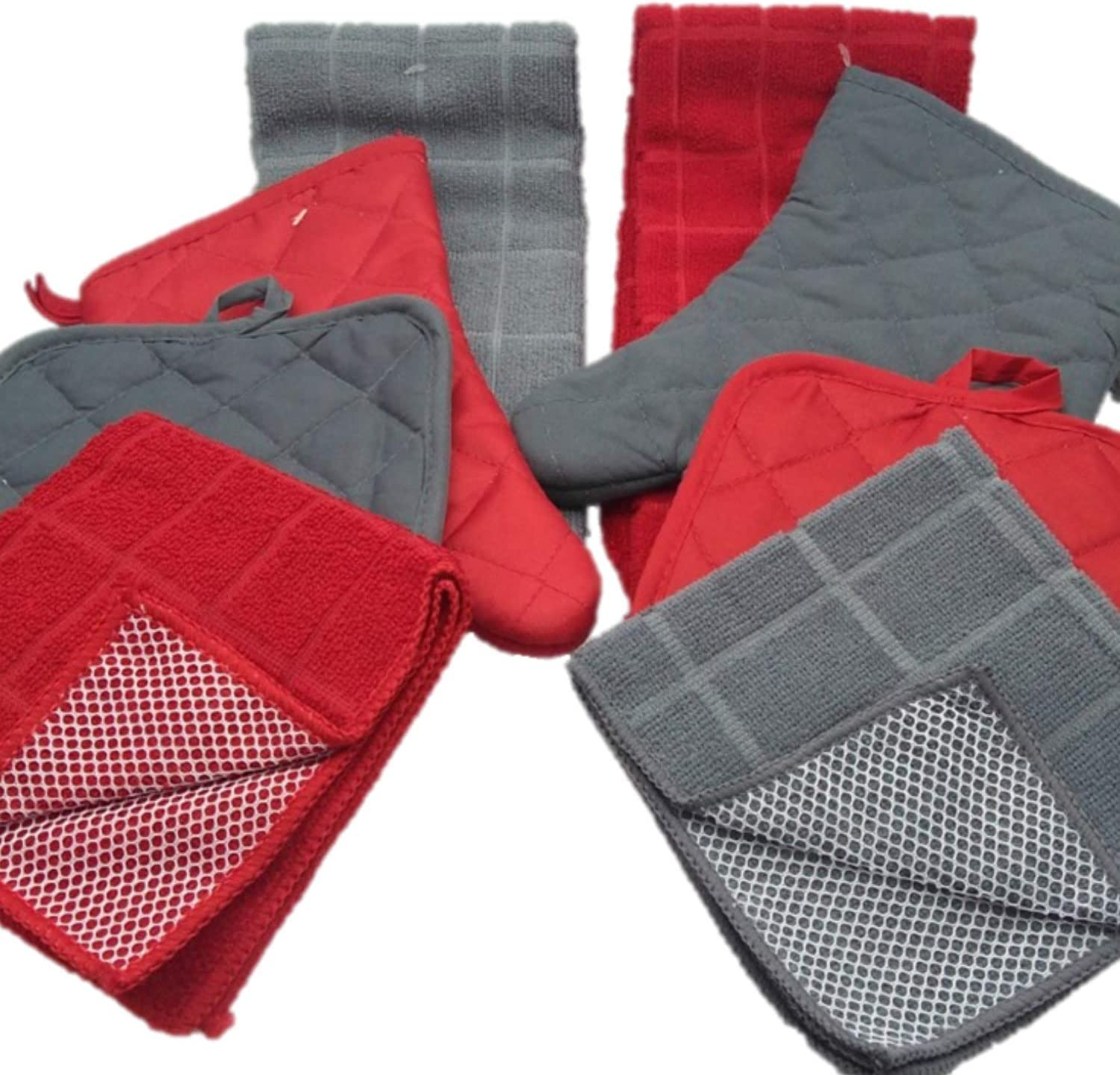 Kitchen Decor - Towel Linen Set (8 Pc) Fresh Red and Gray Color Combination That Pops - Kitchen Towel Potholder Scrubber Dishcloth Oven Mitt Set - Kitchen Decorations