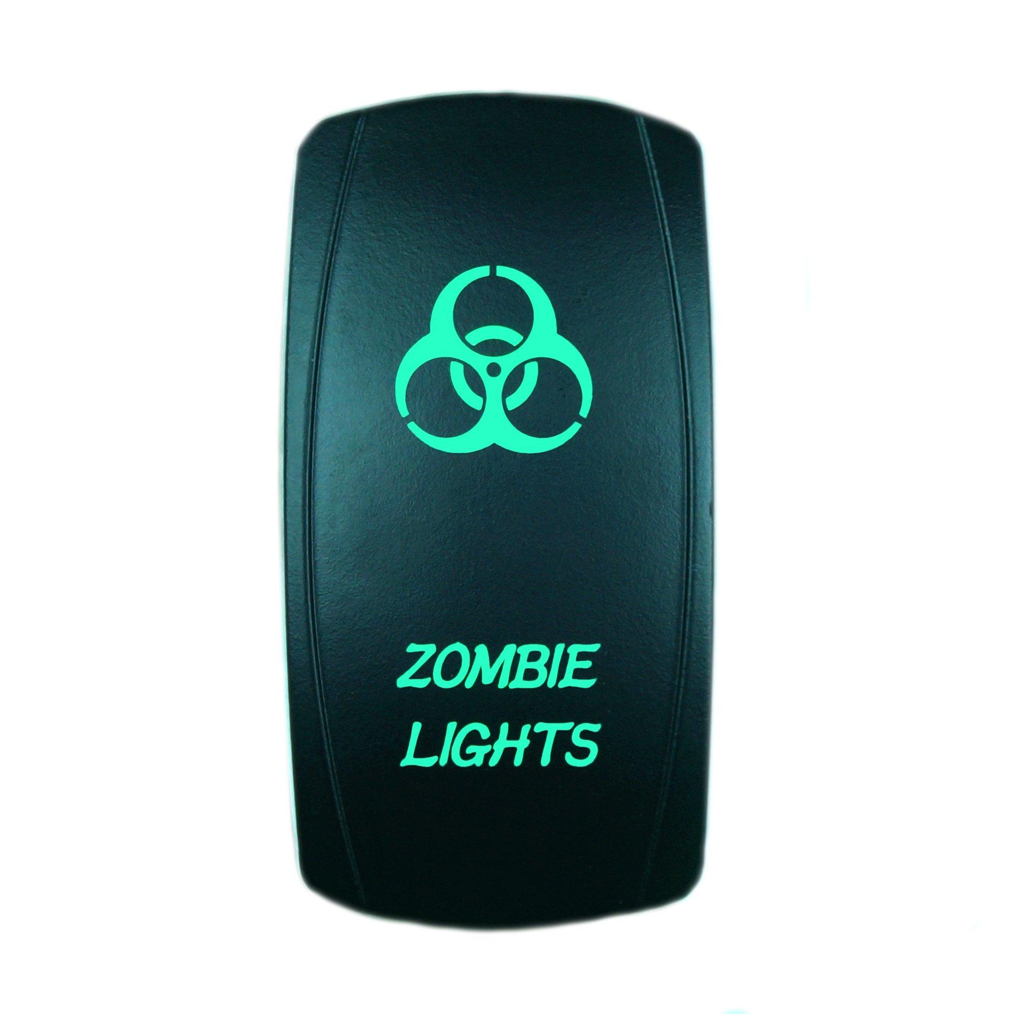 GREEN Laser Rocker Switch Backlit ZOMBIE LIGHTS 12V Bright Light Powersports [SLR1028BLPFBA]