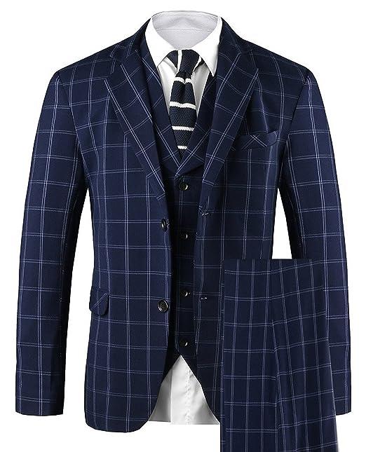 Hanayome Mens 3 PC Casual Stylish Suit Blazer Jacket Tux Vest & Trousers