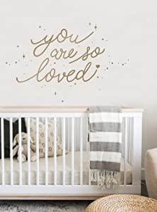 Simple Shapes You are So Loved Quote Lettering Wall Decal with Diamonds, Dots, and Heart - Gold