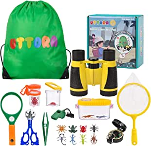 UTTORA Outdoor Explorer Kit & Bug Catcher Kit with Binoculars, Flashlight, Compass, Magnifying Glass, Critter Case and Butterfly Net Great Toys Kids for Boys & Girls Camping Hiking (22PCS)