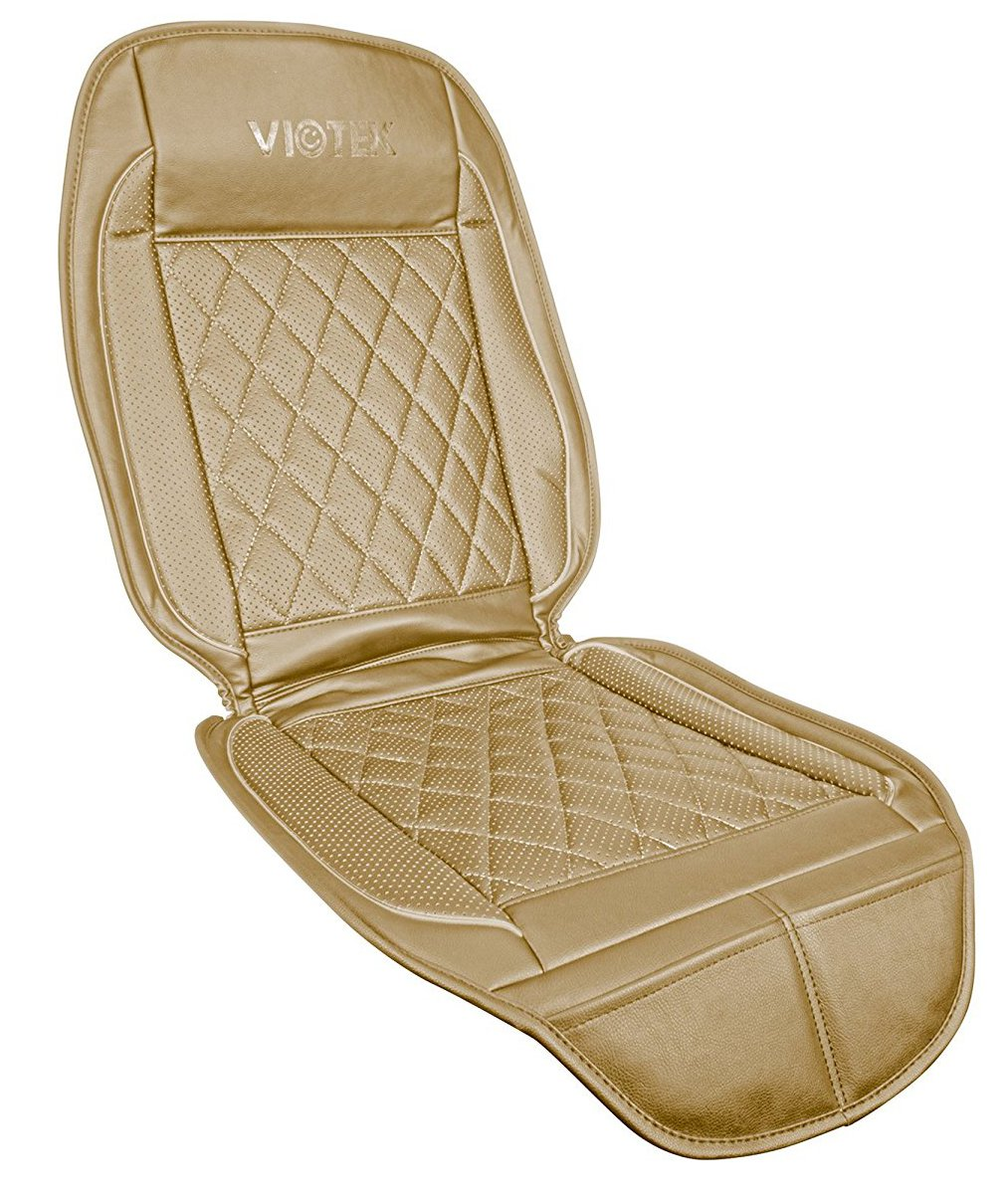 Viotek V2 Cooled Luxury Car Seat Cover – Tru-Comfort Climate Control. Cooling Seat Cover with Wireless Remote (Tan)