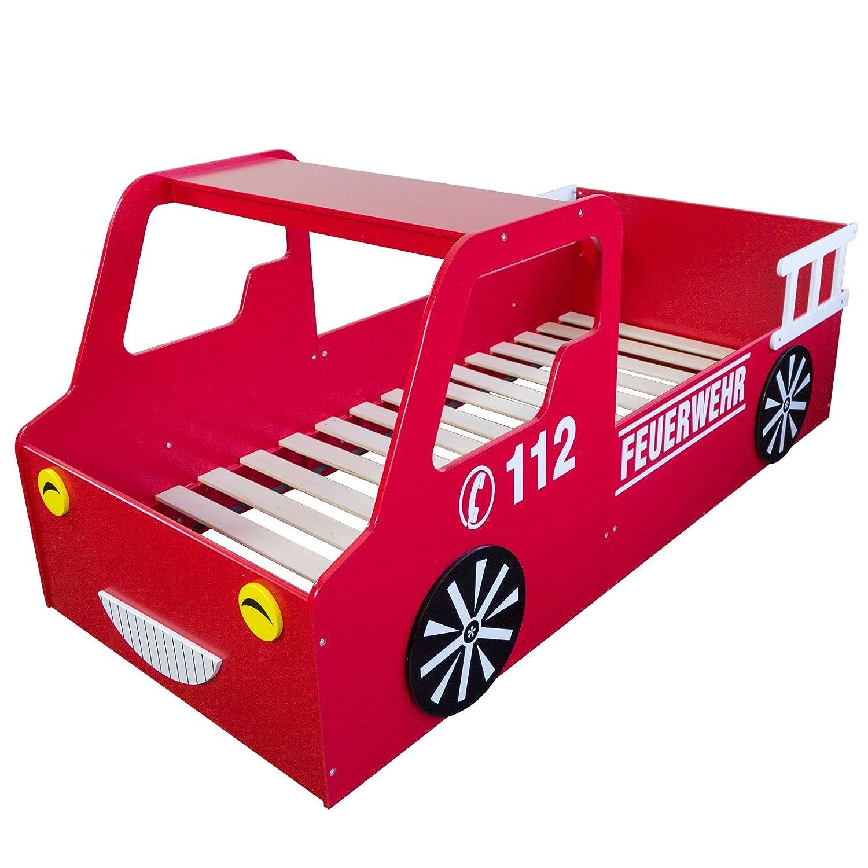 Homestyle4u 1583, Kinderbett, Motiv Feuerwehr, Holz Rot Weiß, 90x200 ...