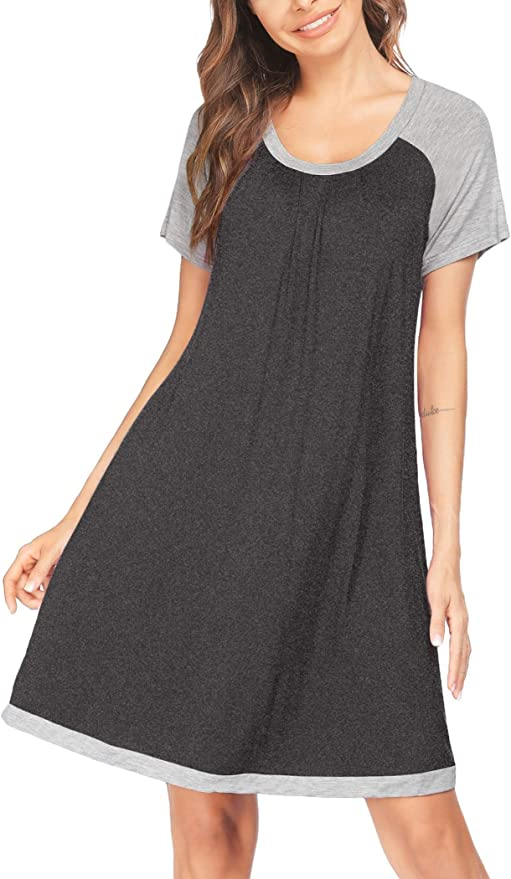 Maryia Womens Sleepwear Short Sleeve Comfy Shirts Pleated Scoopneck Pajama Dress Casual Letters Print Nightgown