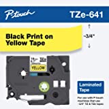 "Brother Genuine P-Touch TZE-641 Tape, 3/4"" (0.7"") Standard Laminated P-Touch Tape, Black on Yellow, For Indoor or…"