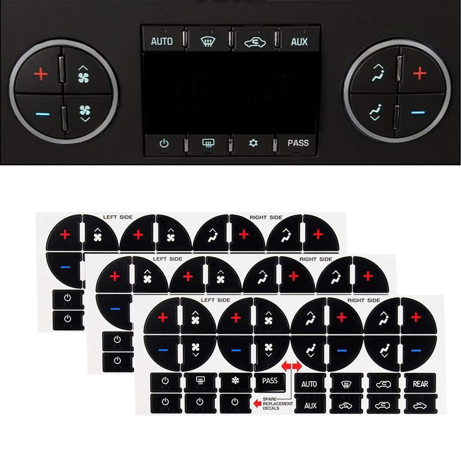 Traverse GMC Fix Ruined Faded A//C Controls GMC Acadia SunTrade 3PCS AC Dash Button Repair Kit,Replacement Stickers for Suburban Chevy Tahoe Silverado