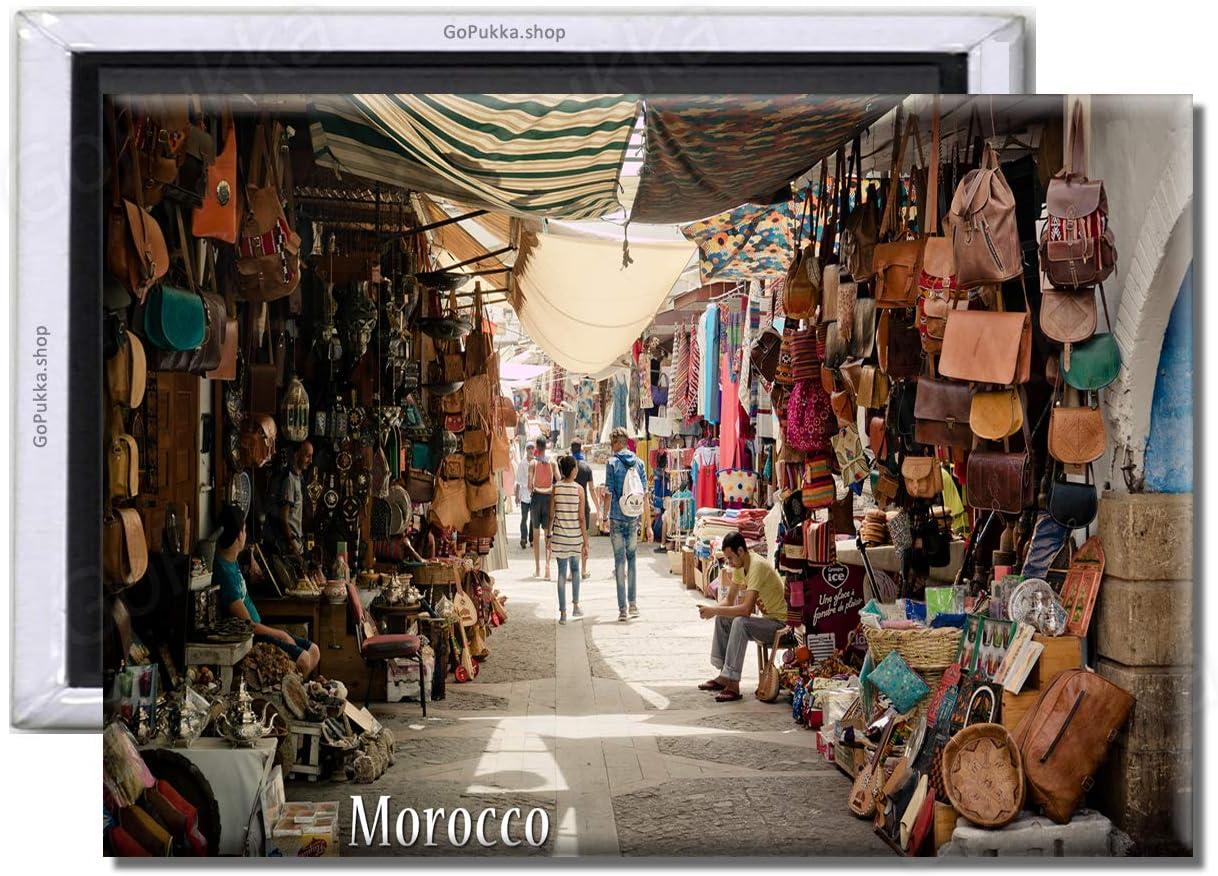 plastica Standard 70x45mm GoPukka Calamita da Frigorifero con Scritta Marocco Nord Africa Souk Bazzaar Alley