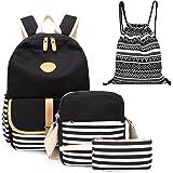 4pcs Canvas Backpack Cute Lightweight Teen Girls Backpacks School Shoulder Bags Backpack Set Alando(Stripe