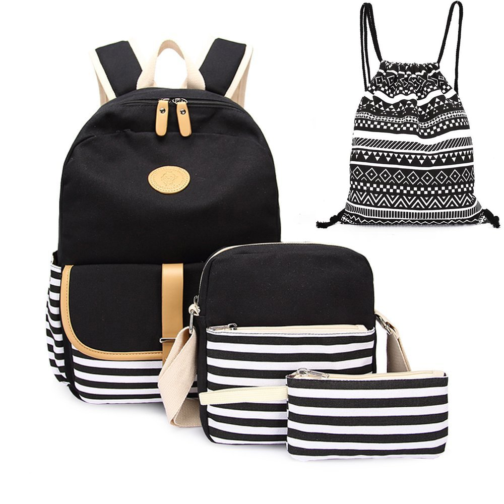 4pcs Canvas Backpack Cute Lightweight Teen Girls Backpacks School Shoulder Bags Backpack Set Alando(Stripe Black)
