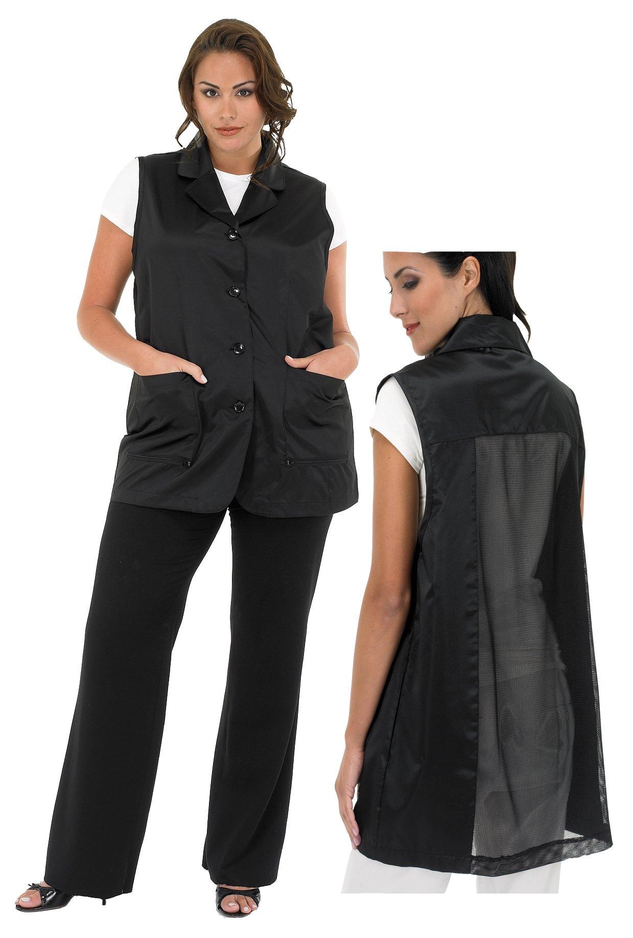 A Size Above Plus Size Vented Mesh Back Salon Stylist Vest, 3X