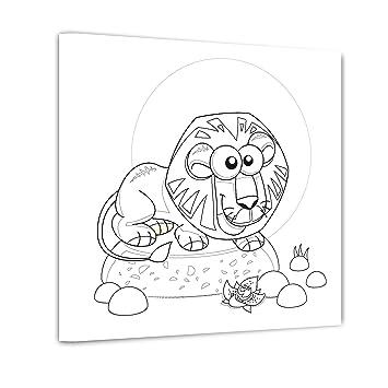 Bilderdepot24 Löwe Ausmalbild Auf Leinwand Aufgespannt Auf Rahmen