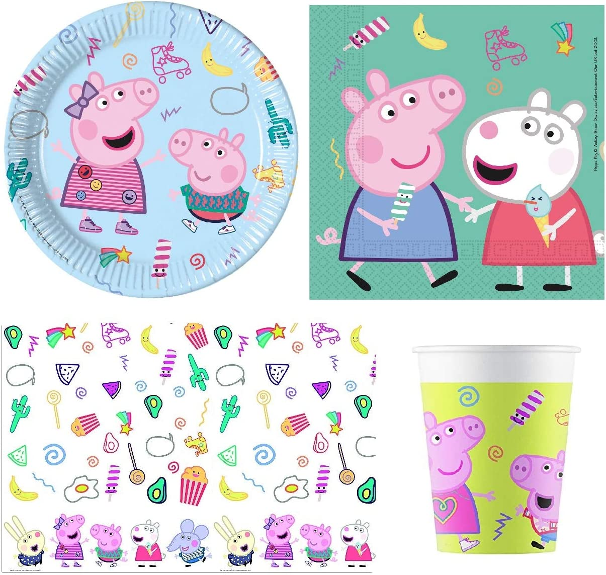 New Peppa Pig Party Supplies Party Pack for 8 Guests