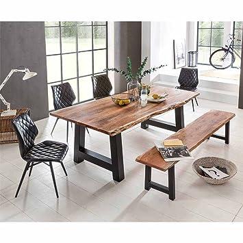 Pharao24 Esszimmer Tischgruppe Mit Baumkantentisch Und Bank Loft
