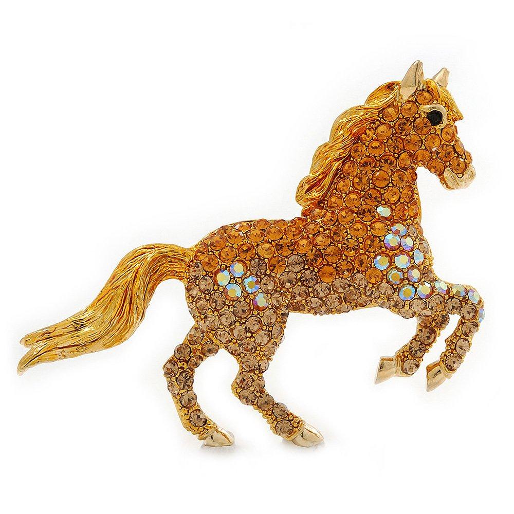 Orange Gold/ Citrine Pave Set Austrian Crystal 'Horse' Brooch In Gold Plating - 65mm Across