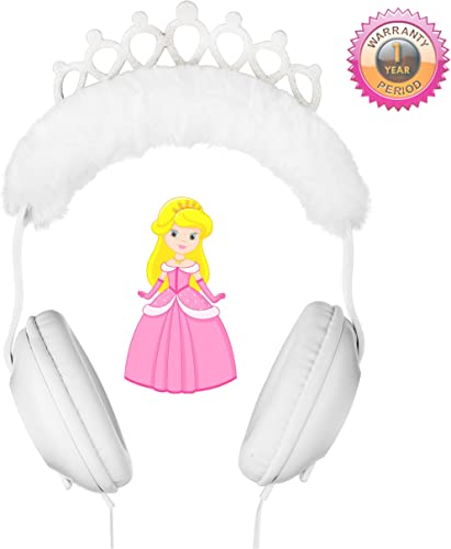 Princess Headphones for Kids, Plush Crown Headphones for Girls with Sparkle Silver Glitter, Comfort Padded Kids Headphones to Age 3 , Wonderful Gift for Birthday, Christmas or Back to School Supplies
