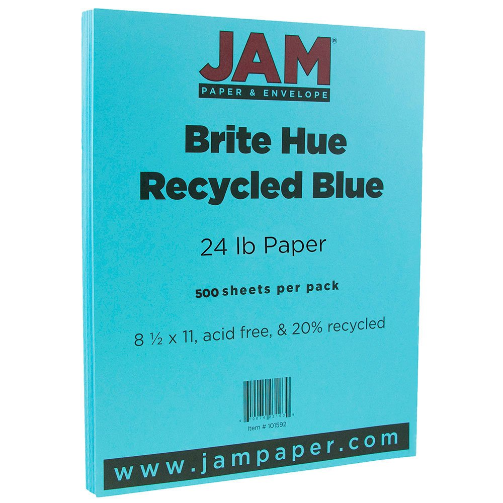 JAM PAPER Bright Color Paper - 8 1/2'' x 11'' - 24lb Brite Hue Blue Recycled - 500 Sheets/pack