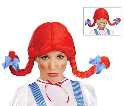 wendys wig with braids red fast food costume wig for kids