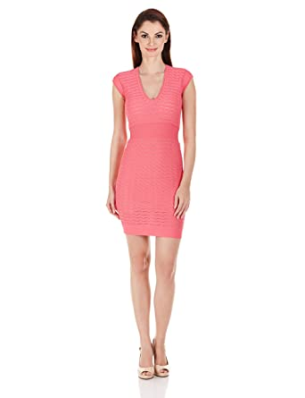 d6bc05f719e French Connection Women's Miami Dani Cap Sleeve V-Neck Dress, Keywest  Coral, 12: Amazon.in: Clothing & Accessories