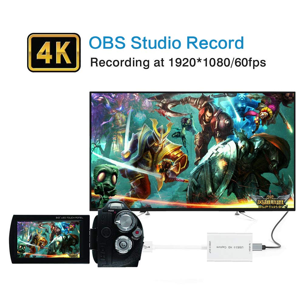 Mac OS and Linus System,Black,IF-LINK HDMI Capture,HDMI to USB 3.0,Full HD 1080P Live Video Capture Game Capture Recording Box,HDMI USB 3.0 Adapter Video and Audio Grabber for Windows