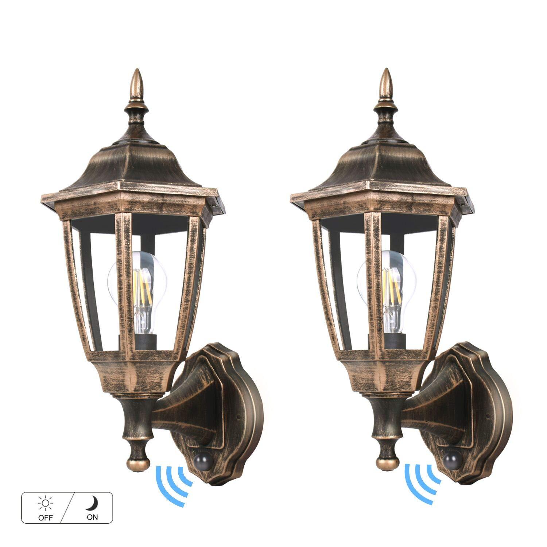 FUDESY LED Dusk to Dawn Sensor Wall Lantern, Outdoor Wall Mount Light Plastic Black-Golden Porch Lantern with Edison Filament Bulb,Exterior Wall Light Fixtures for Garage,Yard(2-Pack),FDS2542EPSG