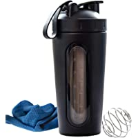 ANKHTIVE Stainless Steel Protein Shaker Bottle, Clear Window, Metal Mixing Ball, Leak Proof, Bundle with Cooling Towel