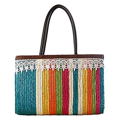 Amazon.com: Tonwhar Encaje Brim Colorful Stripes paja playa ...