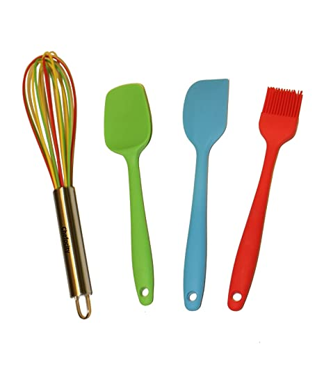 Kids Baking Set - 4 Piece Kids Cooking Utensils - Small Silicone Kitchen  Tools for Kids or Adults - Whisk, Basting Brush, Scraper, Spatula. Durable  ...