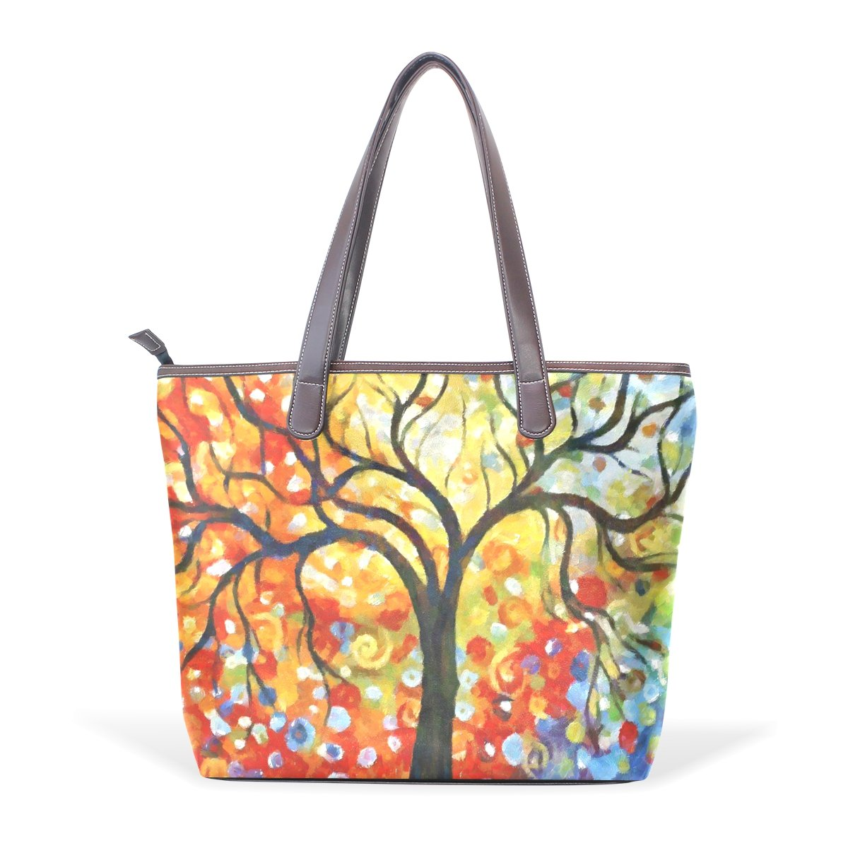 Mr.Weng Household Oil Painting Autumn Lady Handbag Tote Bag Zipper Shoulder Bag