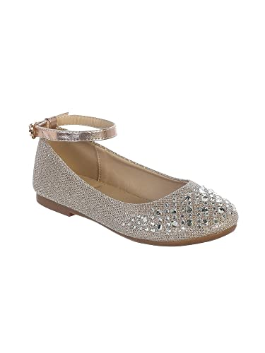 00ee8249b5b Little Girls Rose Gold Sparkle Rhinestone Ankle Strap Dress Shoes 9 Toddler