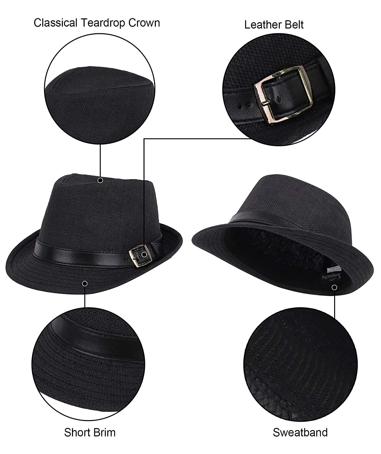 c83511c8 Simplicity Panama Style Trilby Fedora Straw Sun Hat with Leather Belt at  Amazon Men's Clothing store: