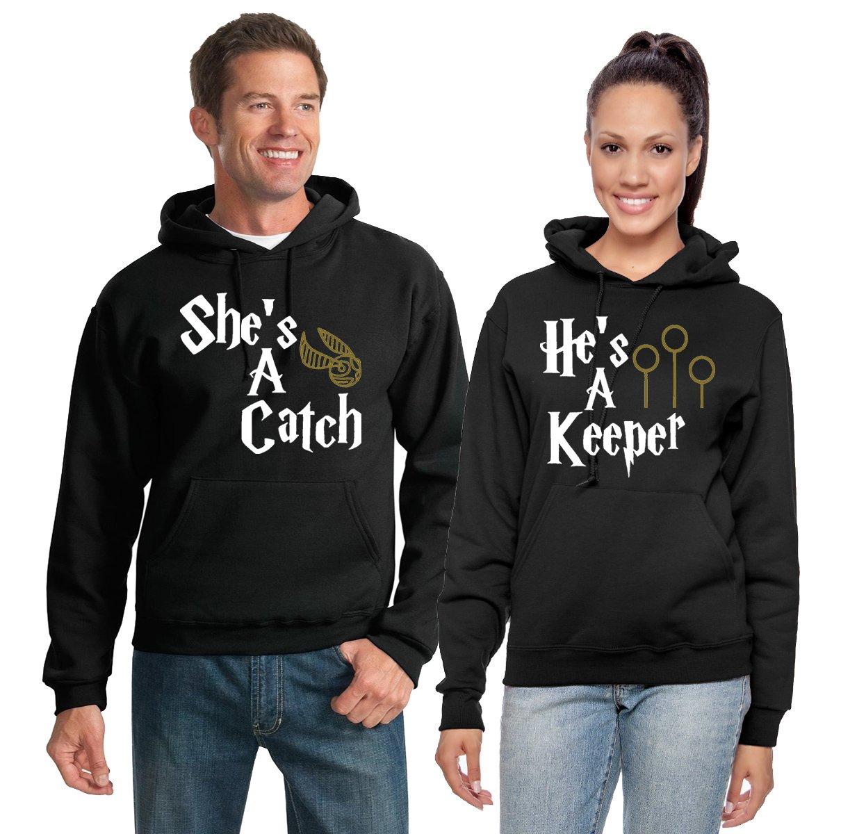 He's A Keeper/She's A Catch   Harry Potter Fan   Couples Hoodie Set Hooded Sweatshirts Men L Women S
