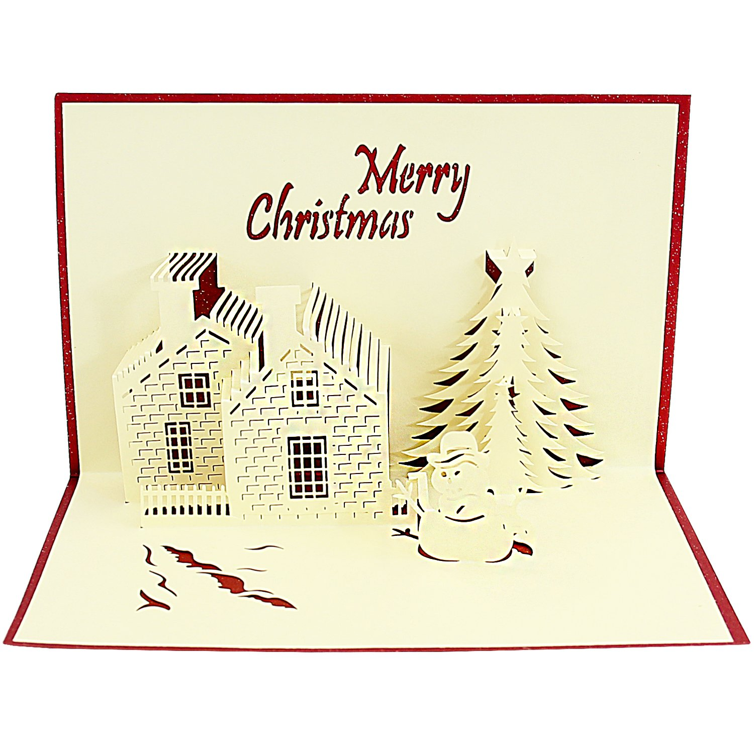 3D Pop-Up Greeting Card – Merry Christmas – House Tree & Snowman ...