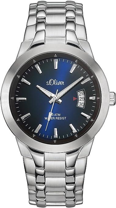 ser SO-2823-MQ - Reloj analógico de Cuarzo para Hombre, Correa de Acero Inoxidable Color Plateado