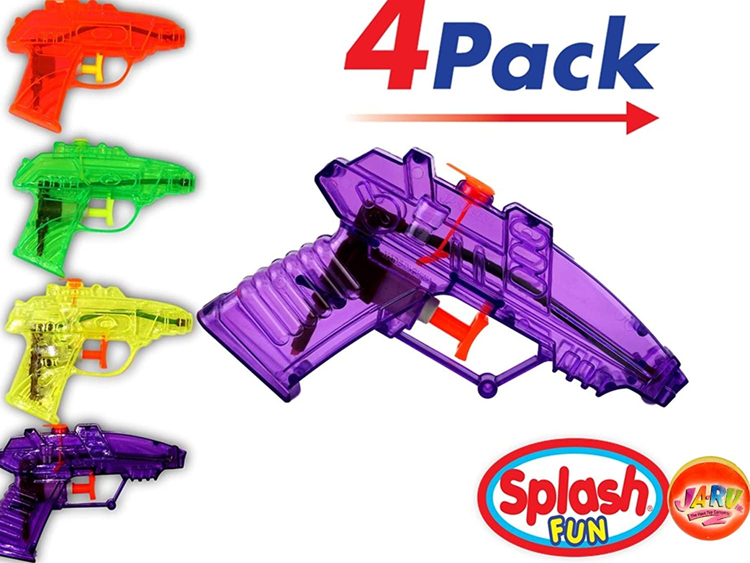 Water Guns (4 units in 1 Pack)| Toy Squirt Gun| Item #858-1p: Toys & Games