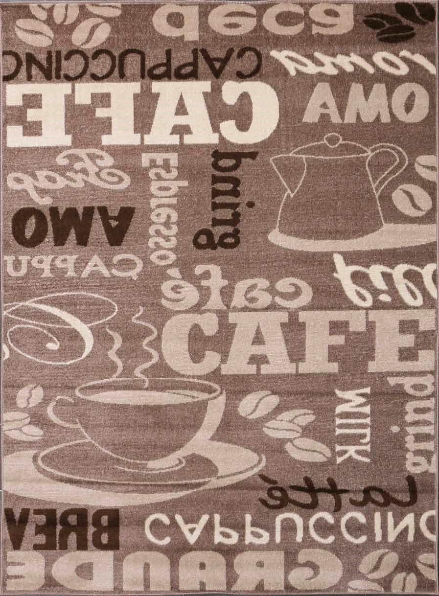 VIMODA Teppich Coffee ideal Design Modern Kaffee Muster in Schwarz ideal Coffee für die Cafe Lounge oder Küche - ÖKO TEX Zertifiziert, Maße 240x340 cm 163a29