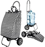 dbest products Trolley Dolly Basket Weave Tote, Black Shopping Grocery Foldable Cart Picnic Beach