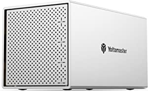 Yottamaster Aluminum Alloy 4 Bay 2.5/3.5 Inch Type C External Hard Drive RAID Enclosure Support RAID 0/1 / 3/5 / 10 / JBOD/Clear,Mac Style Designed for Personal Storage at Home&Office- [PS400RC3]