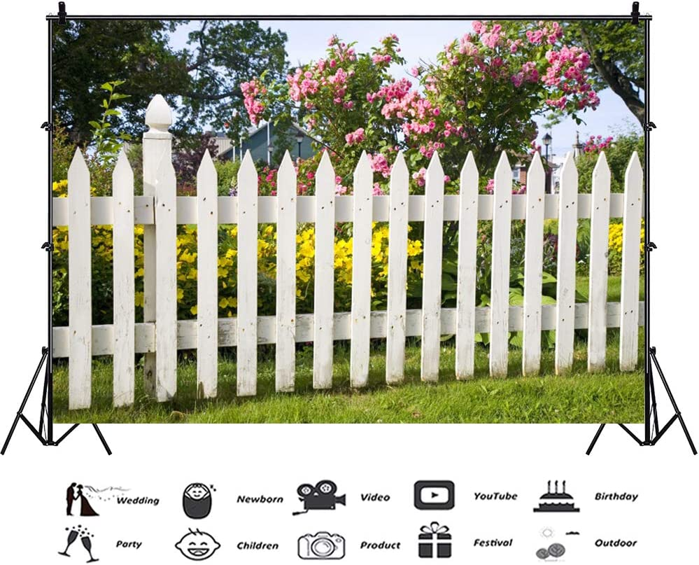 Cassisy 2,2x1,5m Vinyle Printemps Toile de Fond Photo en Plein air Cl/ôture en Bois Champ dherbe Roue Corde Flowers Fond De Studio Photo Portrait Photographie Props Photobooth