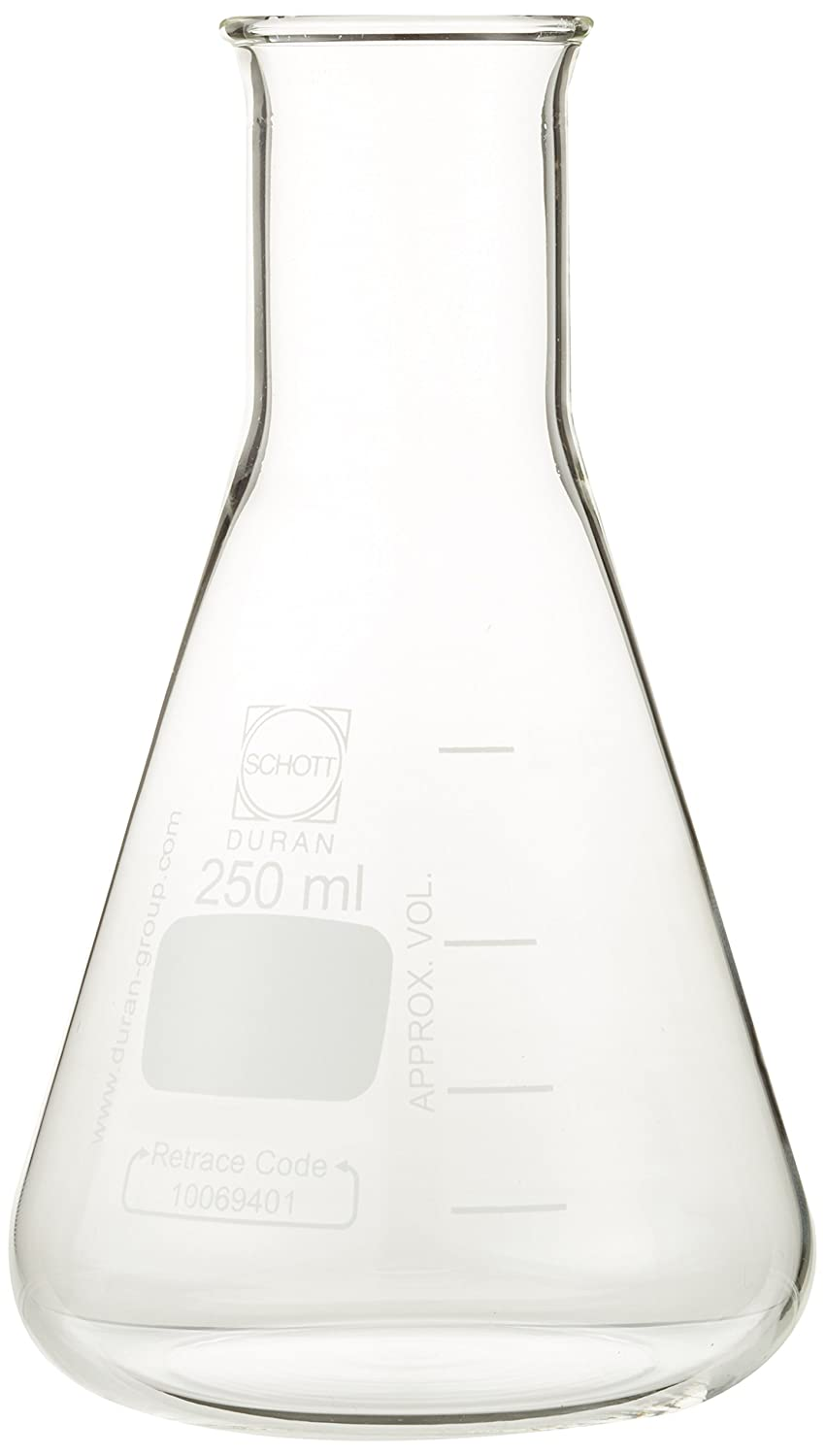 DURAN 212163605 Erlenmeyer Flask, Narrow Neck with Graduation, 250 mL (Pack of 10) DURAN Group GmbH