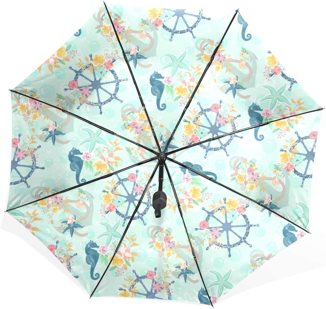 Windproof Umbrella Large Nautical Anchor Starfish Sea Horse Floral Pattern Portable Compact Folding Umbrella Anti Uv Protection Windproof Outdoor Travel Women Big Inverted Umbrella